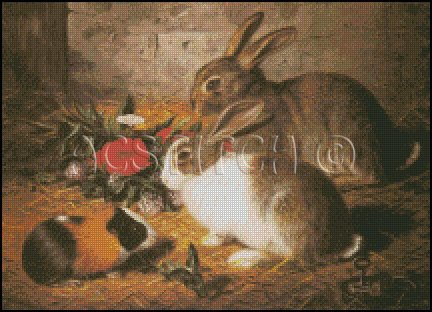 ESCAPED TWO RABBITS cross stitch pattern