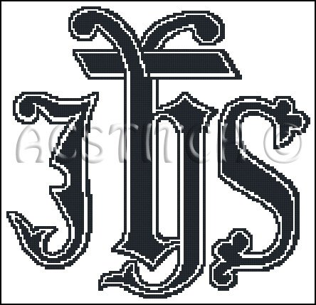 MONOGRAM IHS cross stitch pattern