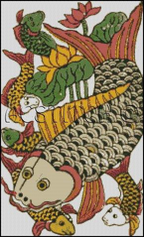 VINTAGE ORIENTAL FISH cross stitch pattern