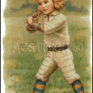 VINTAGE BASEBALL GIRL cross stitch pattern