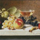 STILL LIFE WITH GRAPES AND PLUMS cross stitch pattern