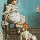 GIRL WITH HER DOG cross stitch pattern, chart