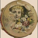 VINTAGE GIRL ADVERTISEMENT cross stitch pattern