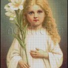 Vintage Child With Flowers cross stitch pattern