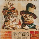 Vintage, FINE HATS, CATS cross stitch pattern