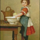 Girl Washing Dishes cross stitch pattern