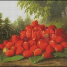 STRAWBERRIES in a Landscape cross stitch pattern