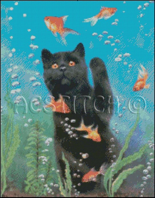 CAT AND GOLDFISH cross stitch pattern