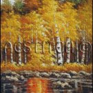 YELLOW ASPEN TREES river cross stitch pattern