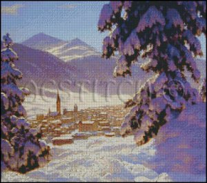 WINTER LANDSCAPE St. MORITZ cross stitch pattern