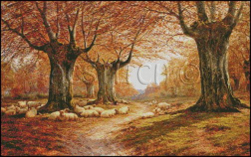 AN AUTUMNAL LANDSCAPE cross stitch pattern