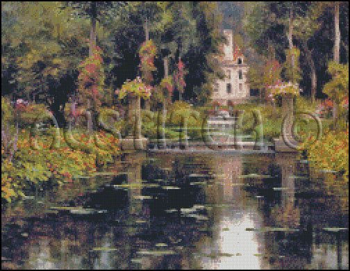 VIEW OF A CHATEAUX cross stitch pattern