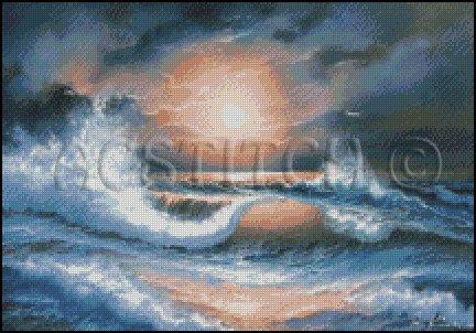 MOON WAVE cross stitch pattern