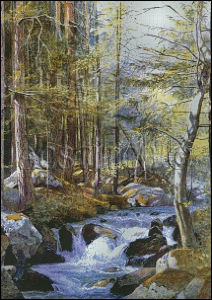 TORRENT IN WOOD BEHIND MILL cross stitch pattern