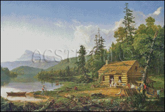 HOME IN THE WOODS cross stitch pattern