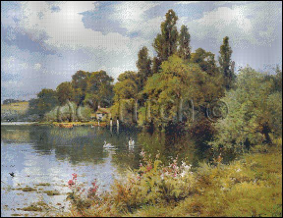 A REACH AT THE THAMES cross stitch pattern