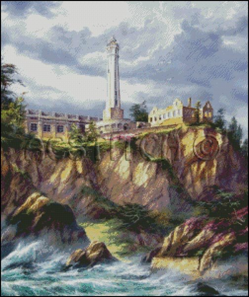 ALCATRAZ LIGHTHOUSE cross stitch pattern