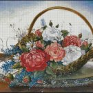 BASKET OF ROSES cross stitch pattern