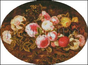 STILL LIFE WITH FLOWERS cross stitch pattern