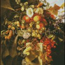 STILL LIFE WITH GRAPES PEACHES FLOWERS cross stitch pattern