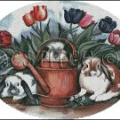 THREE RABBITS WITH TULIPS cross stitch pattern