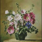 HOLLYHOCKS AND HIBISCUS cross stitch pattern