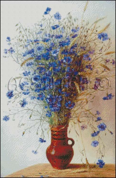 BLUE FLOWERS IN A VASE cross stitch pattern