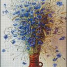 BLUE FLOWERS IN A VASE cross stitch pattern