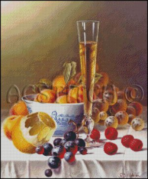 STILL LIFE WITH FRUITS cross stitch pattern