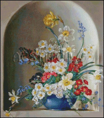 FLOWERS IN A VASE 5 cross stitch pattern