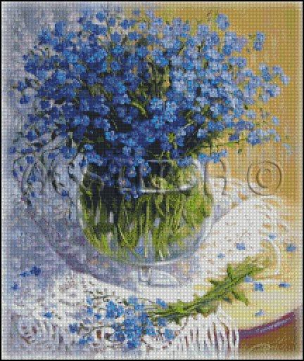 BLUE FLOWERS IN A VASE 2 cross stitch pattern