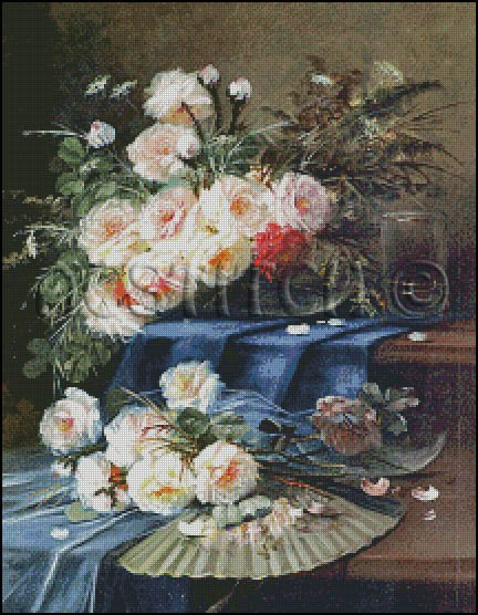 Flowers, Fan and a Glass on Draped Table cross stitch pattern