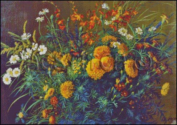 BOUQUET OF FLOWERS cross stitch pattern