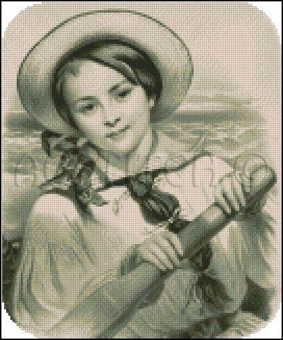 VINTAGE SAILING GIRL cross stitch pattern