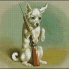 VINTAGE DOG WITH A GUN cross stitch patter