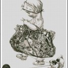 Vintage Knitting Girl With Puppy cross stitch pattern