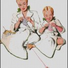 VINTAGE, MOTHER And DAUGHTER cross stitch pattern