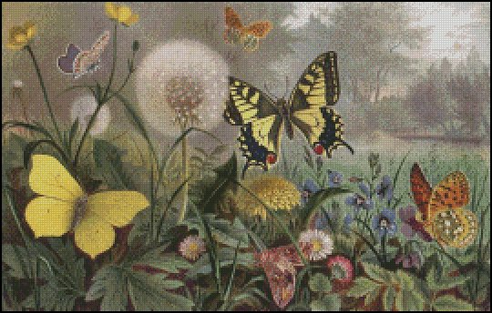 BUTTERFLY FIELD cross stitch pattern No.640
