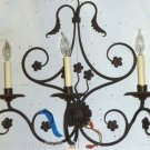 VINTAGE 3-Light Wrought Iron Wall Sconce