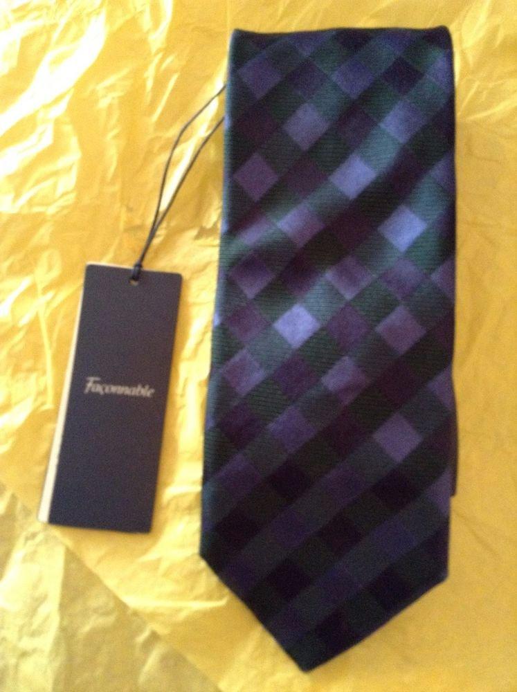 NEW Faconnable Men's Blue Basketweave Silk Tie