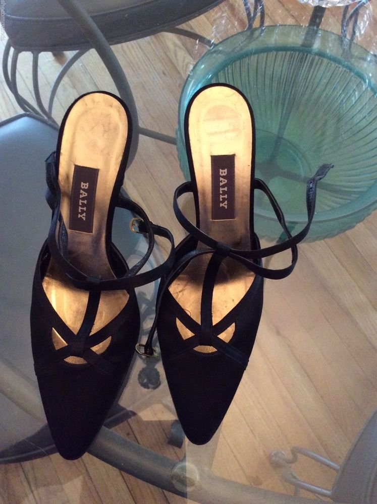 NEW Bally Black Satin Criss-Cross T-Strap Evening Pumps - 6.5
