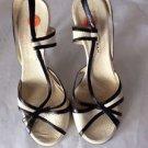 NEW DONNA KARAN Black Off-White Laser Cut Slingbacks High Heels Sandals - 8.5