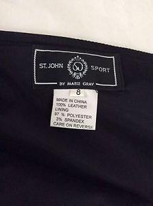 NEW St. John Black Leather Skirt - 8