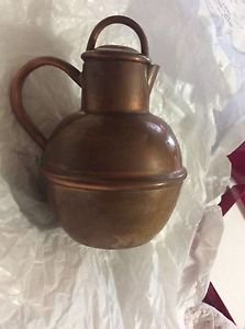 "VINTAGE Colonial VIrginia Solid Copper Teapot w/ Dents - 6""T x 5""W"