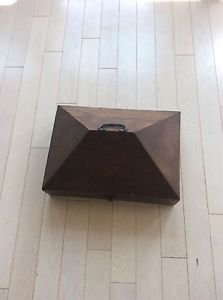 PRIMITIVE Large Wood Hinged  Domed Box with Hand-Forged Handle and Hardware