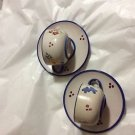 NEW Solimene Vietri Handpainted Pottery 2 Teacups w/ Saucers - Floral Pattern