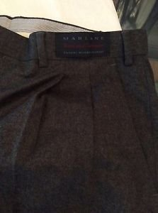 NEW Cuseri Marlane Wool-Cashmere Blend Grey Pleated Front Pants - 40