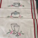 "VINTAGE Set of 4 Embroidered Linen Kitchen Towels - 16.5"" x 30"""