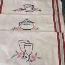 "VINTAGE Set of 4 Embroidered Linen Kitchen Towels - 16.5"" x 30"""