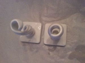 """VINTAGE Pair of Westmoreland Milk Glass Twisted/Spiral Candleholders - 6.5"""""""